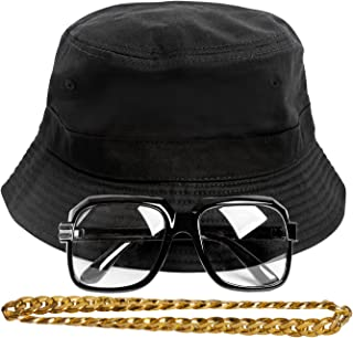 Gravity Trading 90s Hip-Hop Gold Chain Kit (Bucket Hat + Sunglass + Gold Chain)
