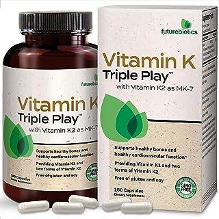 Futurebiotics Vitamin K Triple Play (Vitamin K2 MK7 / Vitamin K2 MK4 / Vitamin K1) Full Spectrum Complex Vi...