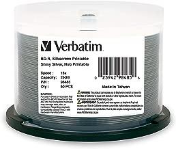Verbatim BD-R 25GB 16X Shiny Silver Silk Screen Printable, Hub Printable - 50pk Spindle