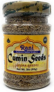 Rani Natural Cumin Seeds Whole (Jeera) Spice 3oz (85g) PET Jar ~ Gluten Free Ingredients | NON-GMO | Vegan | Indian Origin