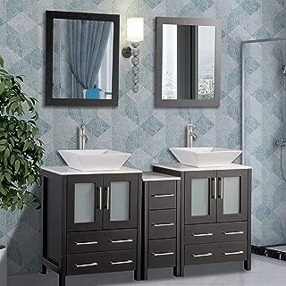 Vanity Art 60 inch Double Sink Bathroom Vanity Combo Set 7-Drawers, 2-Shelf, 3 Cabinet White Quartz Top and Ceramic Vessel Sink Bathroom Cabinet with Free Mirror - VA3124-60-E