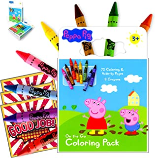 Peppa Pig On the Go 72 page Coloring Book with a Set of 8 Easy to Grip Colorful Jumbo Crayons Bundle Includes Separately L...