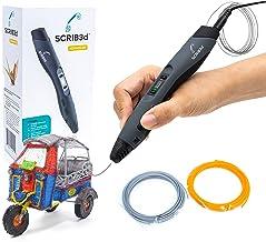 SCRIB3D قلم چاپ سه بعدی پیشرفته با صفحه نمایش - شامل قلم چاپ سه بعدی پیشرفته ، 3 رنگ شروع راهنمای پروژه کتاب استنسیل رشته ای PLA و شارژر