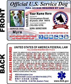 Service Dog ID Card (CUSTOM PRINTED) Holographic Identification - Free Zip-Lock Pouch Included