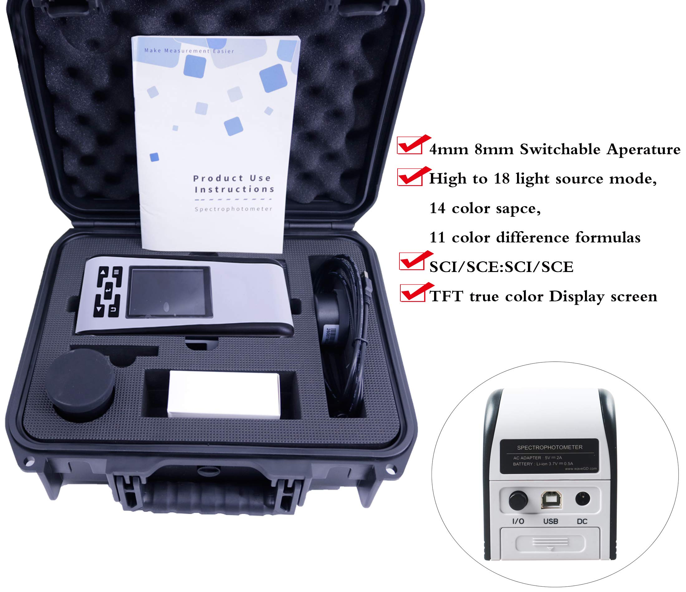 HFBTE 16mm Caliber Spectrophotometer Colorimeter Color Difference Meter Tester with A C D50 D65 F2 F12 Light Source Lab LCh and Yxy Three Color Rendering Parameters