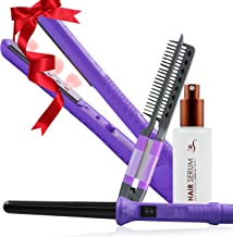 Herstyler Style with Care Set 3 - Contains 1.25 Inch LED Flat Iron, Grande Curling Iron, Argan Oil Hair Serum and Styling Comb