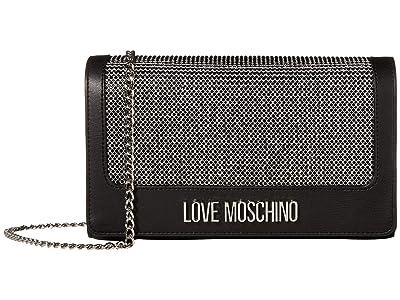 LOVE Moschino Dark Crystals Small Crossbody (Black) Handbags