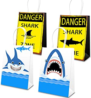 Shark Goodie Bags, 16 Pcs Shark Goody Candy Treat Bags, Shark Party Favor Bags Kids Shark Theme Baby Shower Birthday Party Supplies
