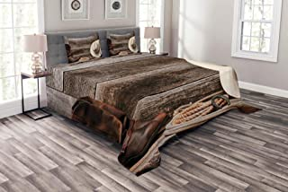 Lunarable Western Bedspread, American West Rodeo Traditional Straw Cowboy Hat Leather Boots Print, Decorative Quilted 3 Piece Coverlet Set with 2 Pillow Shams, King Size, Brown Tan