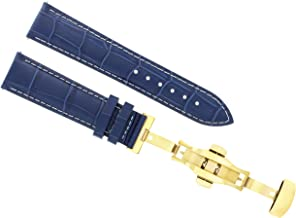 18MM LEATHER STRAP BAND FOR BAUME MERCIER DEPLOYMENT CLASP DARK BLUE WS GOLD