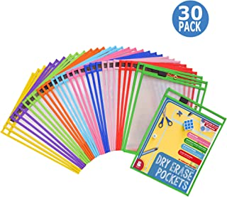 Dry Erase Pockets 30 Pack - Dry Erase Sleeves - Reusable Sheet Protectors - School or Work - Oversize 10 x 13 Inches - Job Ticket Holders