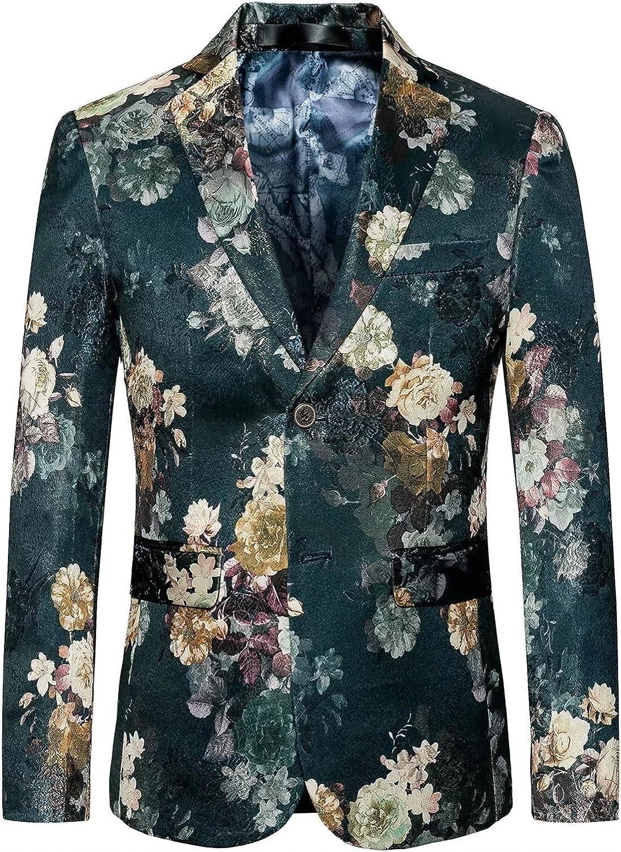 HENGAO Men's Casual Glitter Suit Stylish Slim Fit Blazer Jacket