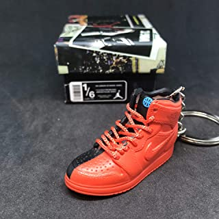 Air Jordan I 1 Retro High Quai 54 Q54 Red Friends & Family OG Sneakers Shoes 3D Keychain 1:6 Figure + Shoe Box