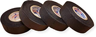 Black Hockey Tape for Hockey Sticks - 1 Inch Wide, 20 Yards Long (Cloth) Made in Canada (4 Pack) …