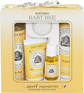 Burt's Bees Baby Sweet Memories Gift Set with Keepsake Photo Box, 4 Baby Products – Shampoo & Wash, Lotion, Diaper Rash Oi...