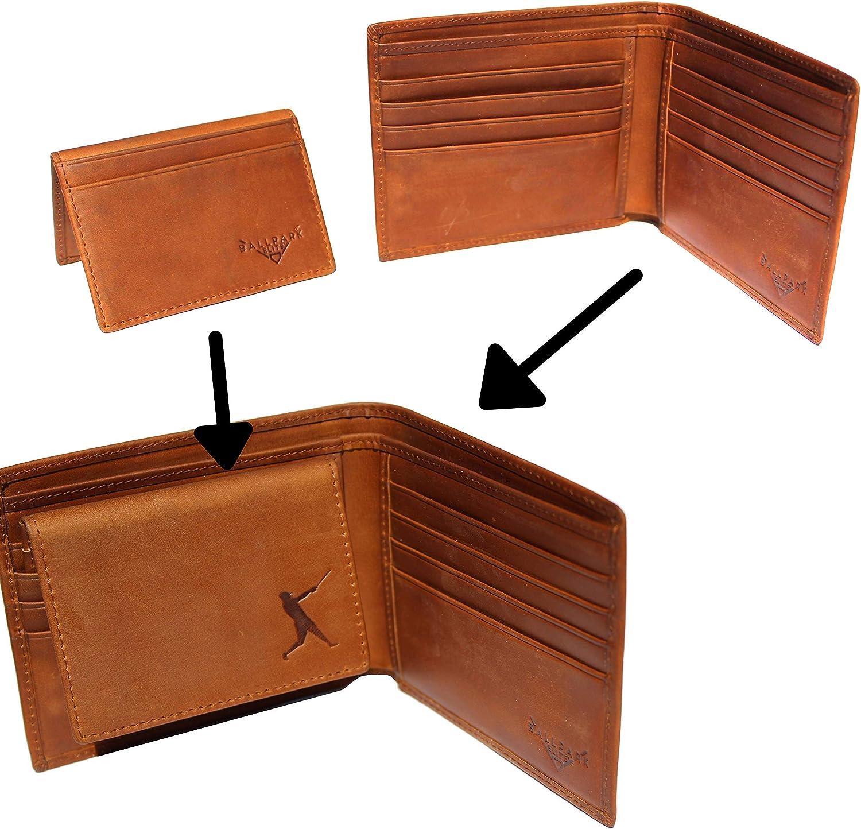 Baseball Wallet Genuine Leather Bifold RFID Blocking
