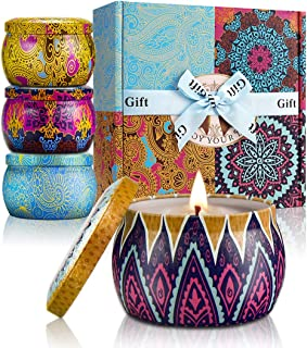 Yinuo Mirror Scented Candles, 4.4Oz Portable Tin Gift Set of 4 Pack, 100% Natural Soy Wax Candle Gift for Women, Mediterranean Fig, Lemon, Spring, Lavender for Air Clean and Aromatherapy Relaxation
