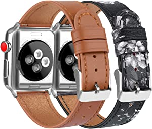 [2 Pack] Leather Bands Compatible with Apple Watch Bands 44mm 42mm for Women Men, Soft Leather Straps for iWatch SE & Series 6, Series 5, Series 4, Series 3, Series 2, Series 1, Brown & Flower Grey