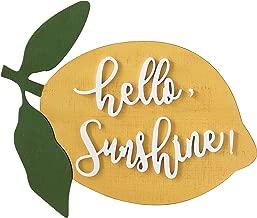 Creative Co-op Hello Sunshine Lemon Shaped Wood Wall Décor, Yellow