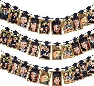Aneco 30 Pieces Grad Cap Photo Banner Clip Garland Graduation Cap Shaped Photo Clip Garland for 2019 Graduation Party Decorations