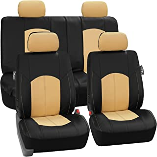 FH Group Limited TIME ONLY PU008114 Perforated Leatherette Full Set Car Seat Covers, (Airbag & Split Ready), Beige/Black Color- Fit Most Car, Truck, SUV, or Van