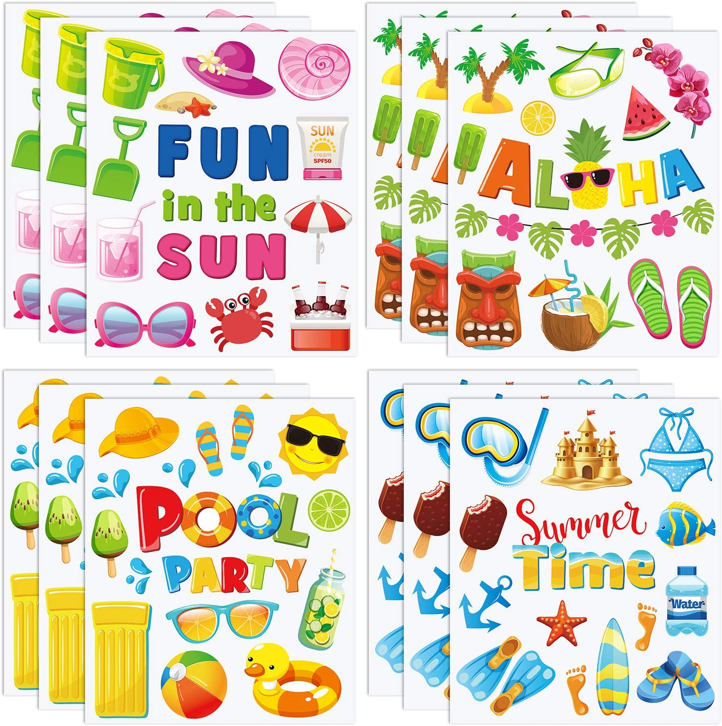 Summer Window Clings NEW Double Sided Pool Superior Party Static Beach