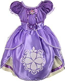 Little Girls Cute Short Sleeve Summer Dresses Glittery Princess Sofia Costumes Cosplay Birthday Party Dress up