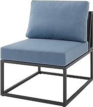 Walker Edison Furniture Company AZRTRINCHBU Outdoor Patio Metal Modern Modular Side Chair with Cushions, Blue