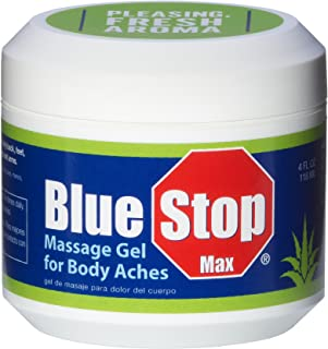 Blue Stop Max Massage Gel for Body Aches, 4 oz jar; 3 in 1 Product Relieves Body Aches, Supports Joints and Nourishes The Skin