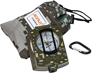 AOFAR AF-4580 Military Compass Lensatic Sighting Navigation, Waterproof and Shakeproof with Map Measurer Distance Calculator, Pouch for Camping, Hiking, Hunting, Backpacking (Camo)