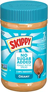SKIPPY Creamy Peanut Butter Spread No Sugar Added, 16 Ounce (Pack of 12)