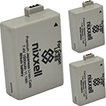 (3 Pack) Ultra High Capacity Nixxell Battery for Canon LP-E5 LC-E5 LPE5 for Canon EOS Rebel XS, Kiss F, Kiss X2, Kiss X3, EOS Rebel XSi, EOS Rebel T1i, EOS Rebel 450DM, EOS Rebel 500D, Rebel 1000D