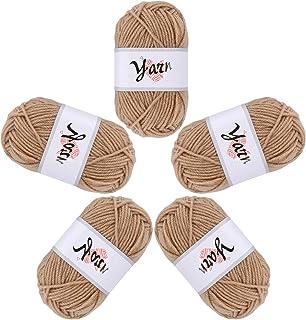 Fils à tricoter 5 rouleaux de fils acryliques fil de bonbons à tricoter durable 4 brins de laine ensemble de laine au croc...