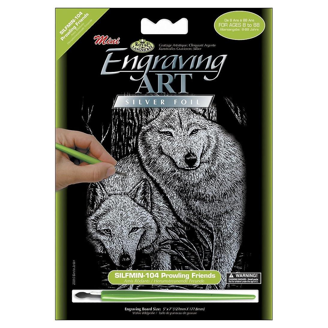 Royal Brush Mini Silver Foil Engraving Art Kit 5 by 7-Inch, Prowling Friends