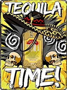 HAIMAX Tequila Time Tin Sign, Mexican Madness Tin Sign Wall Decor for Garden Patio Gym Ranch Indoor Wine Cellar Metal Signs 12