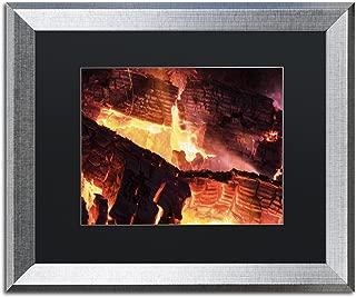 Fireplace by Kurt Shaffer, Black Matte, Silver Frame 16x20-Inch