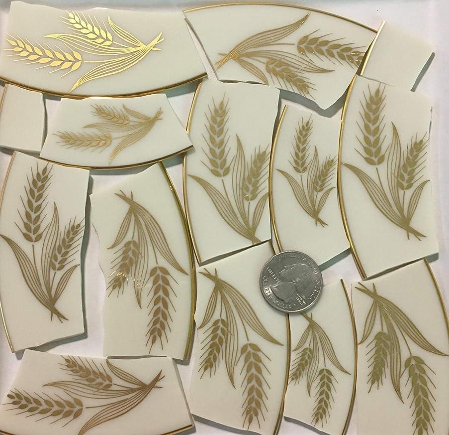 Mosaic Art & Crafts Supply ~ Metallic Gold Wheat Design Cream White China Tiles (B895)