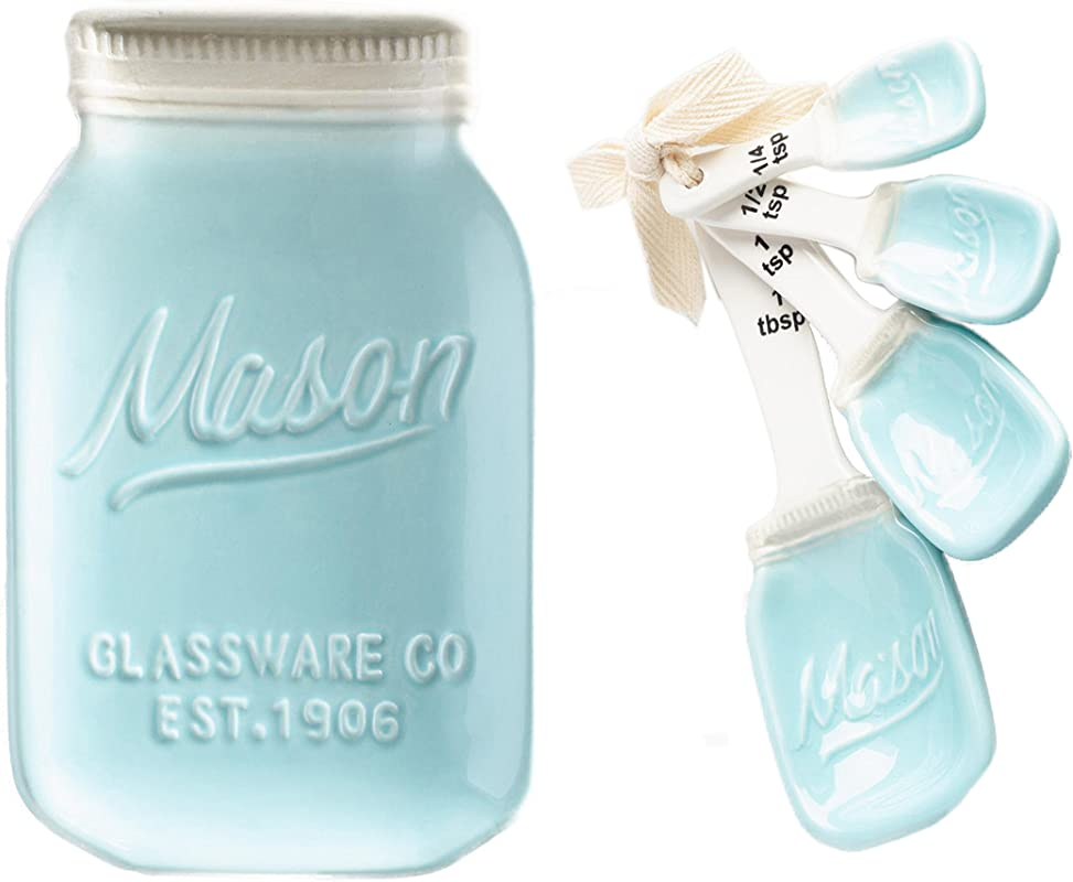 World Market Blue Ceramic Mason Jar Spoon Rest And Measuring Spoons Bundle Kitchen Utensil And Dining Serving Accessories Rustic Farmhouse Kitchen Decor Cooking And Baking Supplies
