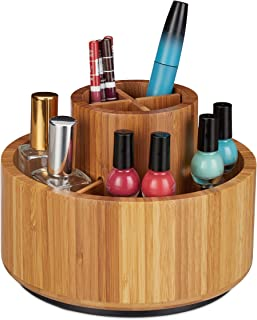 Relaxdays Makeup Organiser, Bamboo, 360° Rotatable, Round, For Brush, Lipstick & Cosmetics, Pen Holder, D: 20cm, Natural, ...