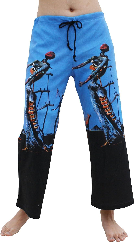 RaanPahMuang 3 4 Length Pull String Pants  Salvadore Dali bluee Burning Giraffe