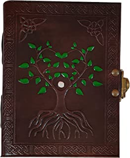 Hand Painted Tree of Life Leather Journal Diary Notebook Men Women Small Gift for Him Her