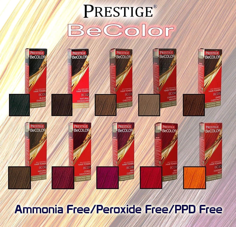 Vips Prestige - BeColor Tinte Semi Permanente Sin Amoniaco Sin Peroxide, Color Diamante Negro BC01