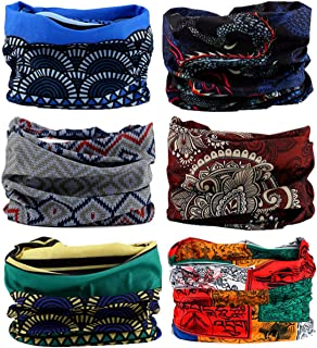 KINGREE 9PCS&6PCS Outdoor Magic Scarf, High Elastic Womens and Mens Headbands with UV Resistance, Headscarves, Headwear, Mask