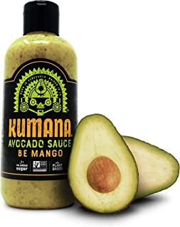 Kumana Avocado Sauce - Spicy Mango. A Keto Friendly Hot Sauce with Ripe Avocado, Mango and Jalapeno Chili Peppers. Ketogenic and Paleo. Gluten Free, No Added Sugar and Low Carb. 13.1 Ounce Bottle.