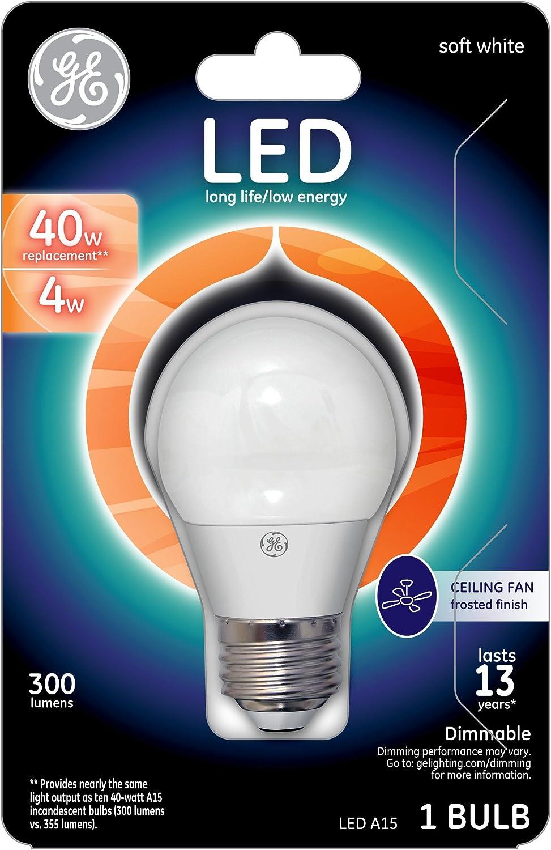Medium Base Light Bulbs Daylight 60 Watt Replacement LED Light Bulbs GE Refresh HD Dimmable LED Light Bulbs 500 Lumen A15 Ceiling Fan Light Bulbs 2-Pack LED Bulbs Frosted Finish