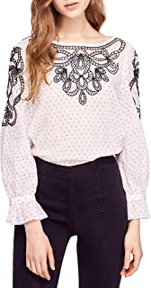 Free People Ivory Combo Long Sleeved Blouse Women's Size L