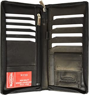 RFID Blocking Zip Around Leather Travel Wallet with Passport and Boarding Pass Holder by Marshal (Black)