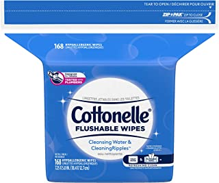 Cottonelle Flushable Wet Wipes for Adults, 1 Refill Pack, 168 Hypoallergenic Wipes, Alcohol-Free