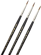AIT Art Premium Round Detail Kolinsky Paint Brushes, Size 2, Pack of 3, Pure Russian Red Sable, Handmade in USA for Crafti...