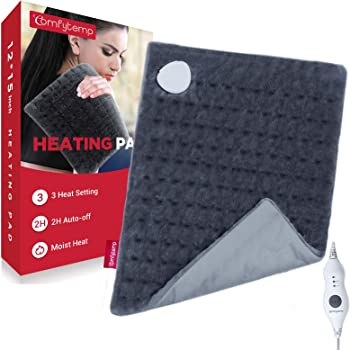 Heating Pad, Comfytemp 12 x 15 Inch Electric Heated Pad for Cramps, Soft Flannel, 3 Temperature Settings, Auto Shut Off, Moist Small Heat Wrap for Shoulders, Legs, Waist, Back Pain Relief